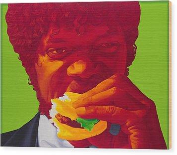 Tasty Burger Wood Print by Ellen Patton