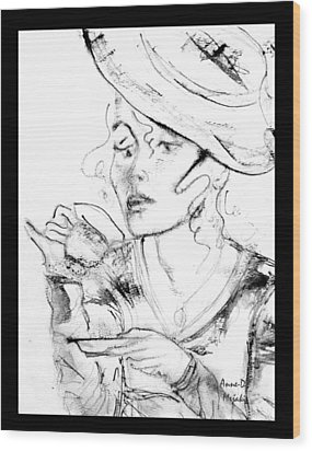 Tea Party Girl Wood Print by Anne-D Mejaki - Art About You productions
