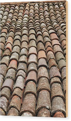 Terra Cotta Roof Tiles Wood Print by Gaspar Avila