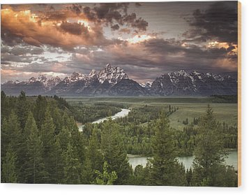 Teton Drama Wood Print by Andrew Soundarajan