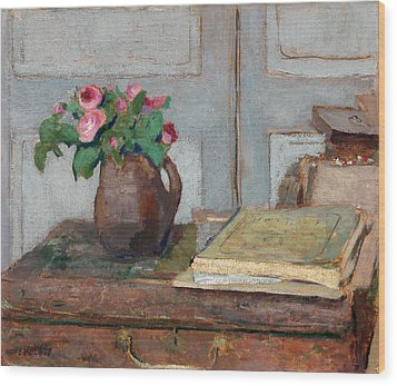 The Artist's Paint Box And Moss Roses Wood Print