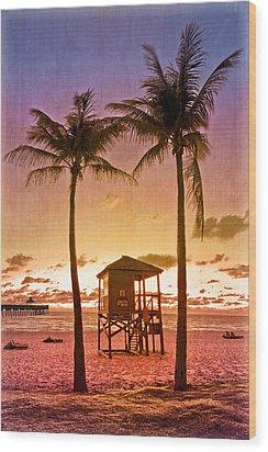 The Beach Wood Print by Debra and Dave Vanderlaan