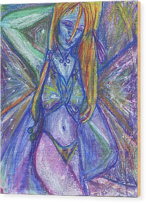 Wood Print featuring the mixed media The Belly Dancer by Sarah Crumpler