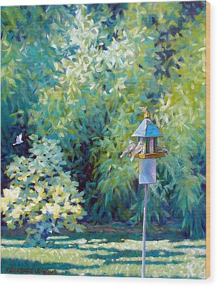 The Bird Feeder Wood Print by Kevin Lawrence Leveque