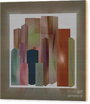 Wood Print featuring the digital art The Block by John Krakora