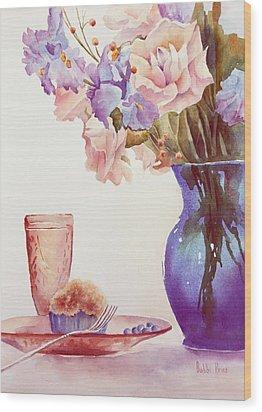 The Blue Vase Wood Print by Bobbi Price