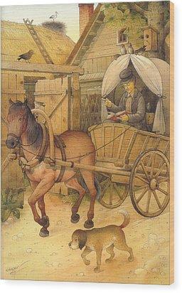 The Bookman Wood Print by Kestutis Kasparavicius