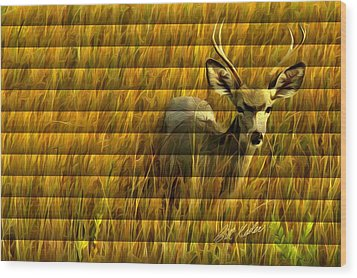 The Buck Poses Here Wood Print by Bill Kesler