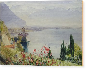 The Castle At Chillon Wood Print by John William Inchbold