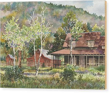 Wood Print featuring the photograph The Delonde Homestead At Caribou Ranch by Anne Gifford