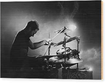 The Drummer Wood Print by Johan Swanepoel