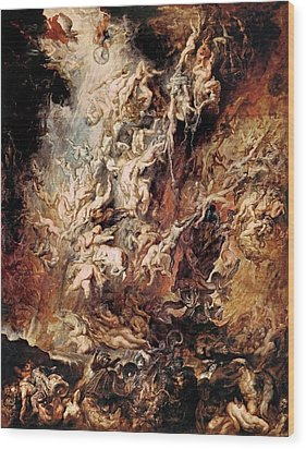 Wood Print featuring the painting The Fall Of The Damned by Peter Paul Rubens