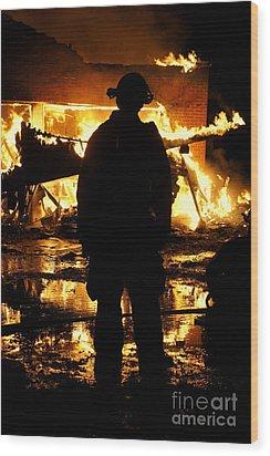 The Fireman Wood Print by Benanne Stiens