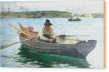 Wood Print featuring the painting The Fisherman by Henry Scott Tuke