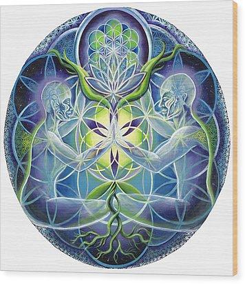 The Flowering Of Divine Unification Wood Print by Morgan  Mandala Manley