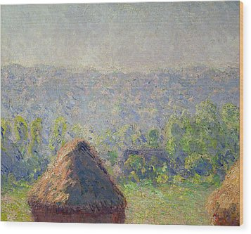 The Haystacks Wood Print by Claude Monet