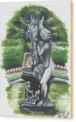 The Hidden Fountain Wood Print by Scarlett Royal