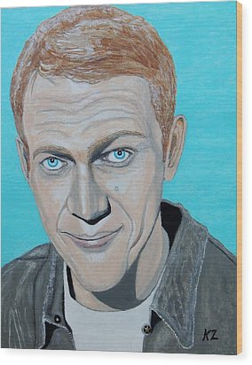 The King Of Cool.steve Mcqueen. Wood Print by Ken Zabel