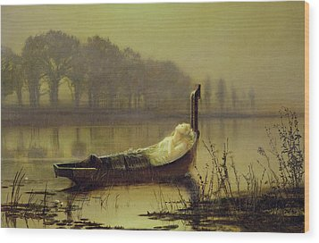 The Lady Of Shalott Wood Print by John Atkinson Grimshaw