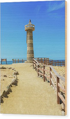 The Lighthouse In Salinas, Ecuador Wood Print by Marek Poplawski