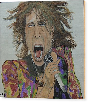 The Madman Of Rock.steven Tyler. Wood Print by Ken Zabel