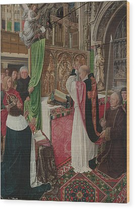 The Mass Of Saint Giles Wood Print by Master of Saint Giles