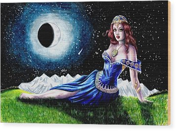 The Moon Witch Wood Print by Scarlett Royal