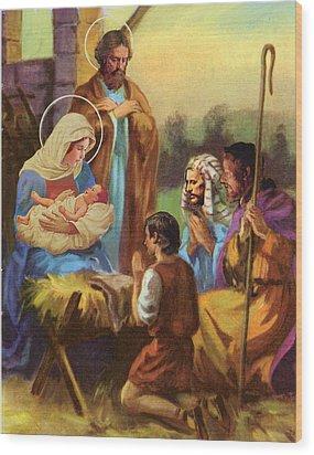 The Nativity Wood Print by Valer Ian