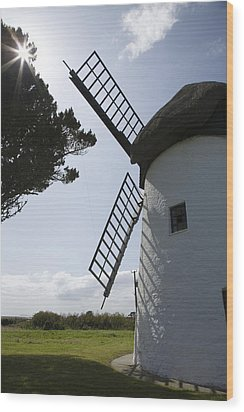 Wood Print featuring the photograph The Old Irish Windmill by Ian Middleton