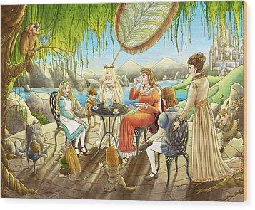 The Palace Garden Tea Party Wood Print