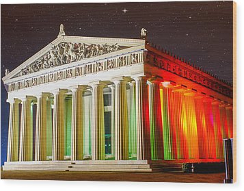The  Parthenon Under The Stars Wood Print