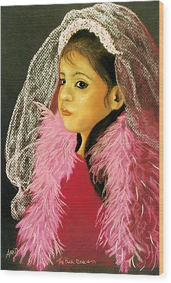 Wood Print featuring the pastel The Pink Boa by Jan Amiss