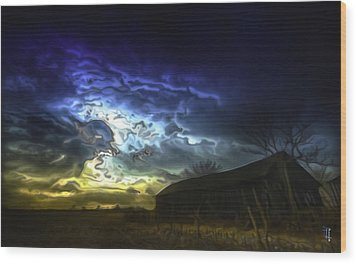 The Power Of A Storm In Formation Wood Print by  Fli Art