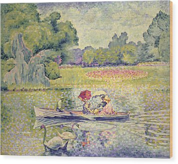 The Promenade In The Bois De Boulogne Wood Print by Henri-Edmond Cross