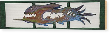 Wood Print featuring the mixed media The Prozak Fish by Robert Margetts