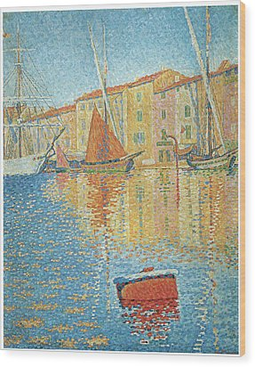 The Red Buoy Wood Print by Paul Signac
