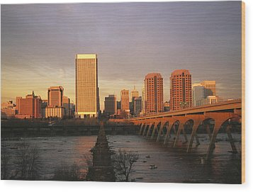The Richmond, Virginia Skyline Wood Print by Medford Taylor