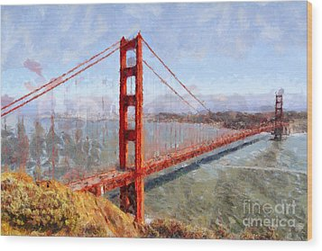 The San Francisco Golden Gate Bridge . 7d14507 Wood Print by Wingsdomain Art and Photography