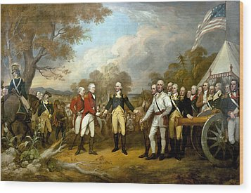 The Surrender Of General Burgoyne Wood Print by War Is Hell Store