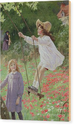 The Swing Wood Print by Percy Tarrant