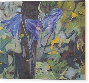 The Three Columbines  Wood Print by Francois Fournier