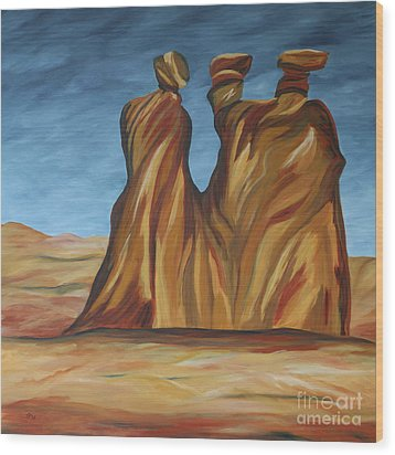 Wood Print featuring the painting The Three Gossips by Christiane Schulze Art And Photography