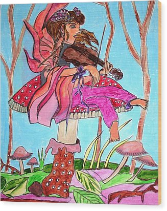 The Violinist Fairy Wood Print