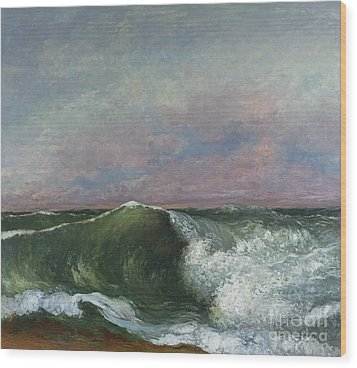 The Wave Wood Print by Gustave Courbet