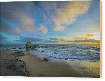 Wood Print featuring the photograph The Woman And Sea by Sean Foster
