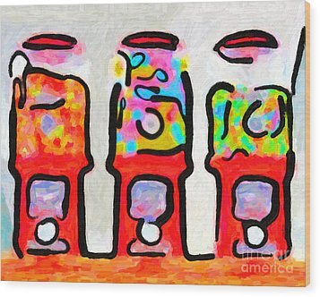 Three Candy Machines Wood Print by Wingsdomain Art and Photography