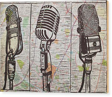 Three Microphones On Map Wood Print