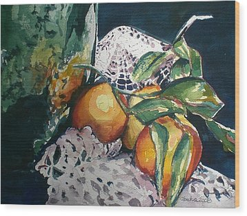 Three Oranges Wood Print by Aleksandra Buha