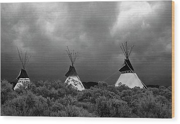 Three Teepee's Wood Print by Carolyn Dalessandro