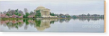 Tidal Basin With Cherry Blossoms Wood Print